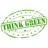 Think green. Rubber stamp with text think green inside,  illustration Royalty Free Stock Images