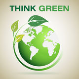 Think Green. Save Earth , Card , Massage royalty free illustration