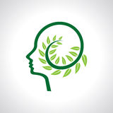 Think green save earth leaves and human brain Royalty Free Stock Photos