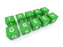 Think green sign. Abstract think green sign made from alphabetic blocks, isolated on white background Royalty Free Stock Photography