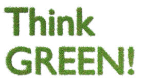 Think green sign on grass ecology concept Royalty Free Stock Photos