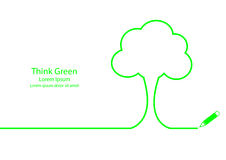 Think Green. Simple outline design of tree. Think green concept Stock Photos