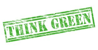 Think green stamp. Isolated on white background Stock Images