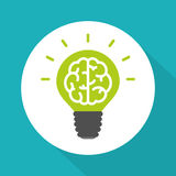 Think green symbol, brain in green lightbulb simple flat vector style Stock Photos