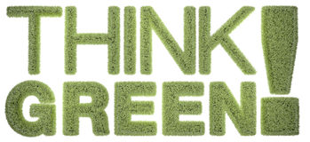 Think Green!. Text Covered with a grass texture and isolated on a white background Royalty Free Stock Photo