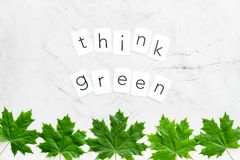 Think green text with green maple leaves on marble background top view. Ecology friendly. Think green text with green maple leaves on marble background top view stock image