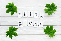 Think green text with green maple leaves on white wooden background top view. Ecology friendly. Think green text with green maple leaves on white wooden stock photo