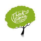 Think green. Tree concept for your design. Vector illustration Royalty Free Stock Image