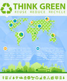 Think Green Vector illustration with small town Stock Photography