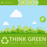 Think Green Vector illustration with small town Stock Images