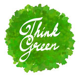 Think green on watercolor spot Royalty Free Stock Photo