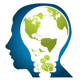Think Green World. Think green illustration with leaves earth birds, tree in the bulb Stock Image