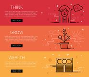Think. Grow. Wealth. Flat line vector web banners set Stock Image