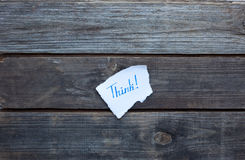 Think hand written on paper piece Royalty Free Stock Photography