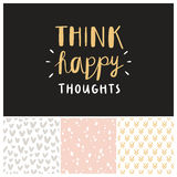Think happy thoughts seamless patterns collection Stock Images