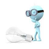 Think about the idea. Blue man in glasses stands and think about the llightbulb on white background Stock Photography