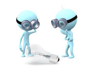 Think about the idea. Two blue mans in glasses stands and think about the llightbulb on white background Royalty Free Stock Photo