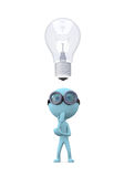 Think about the idea. Blue man in glasses stands and think about the llightbulb on white background Royalty Free Stock Photos