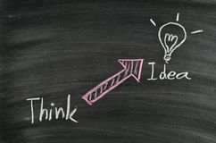 Think idea and light bulb Royalty Free Stock Photo