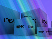 Think Of Ideas 11. A conceptual image of a set of boxes with the words think and ideas on them Stock Images