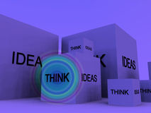 Think Of Ideas 12. A conceptual image of a set of boxes with the words think and ideas on them Stock Photos
