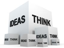 THINK AND IDEAS. On white cubes Royalty Free Stock Photography