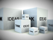 Think Of Ideas 4. A conceptual image of a set of boxes with the words think and ideas on them Royalty Free Stock Images