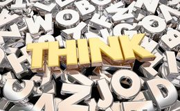 Think Imagine Brainstorm Letters Word. 3d Animation Royalty Free Stock Photography