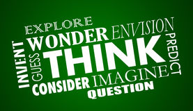 Think Imagine Create Solve Word Collage Stock Photography