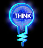 Think Lightbulb Indicates Contemplation Plan And Consideration Stock Photo