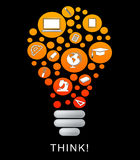 Think Lightbulb Represents Power Source And Bright. Think Lightbulb Indicating Reflecting Reflect And Contemplate royalty free illustration