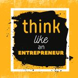 Think like entrepreneur Motivational Quote Poster. Vector phrase on dark background. Best for posters, cards design royalty free illustration