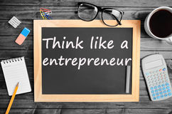 Think like a entrepreneur words. On chalkboard Royalty Free Stock Photography