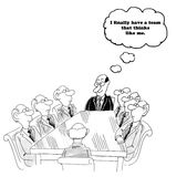 Think Like Me. Business cartoon about a team leader happy that his team members all think like him Stock Photos