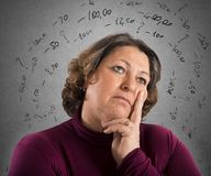 Think like repay debts. Worried woman thinks like repay its debts Stock Photography