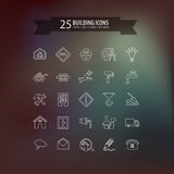 Think line building icons. 25 think line building icons for web. Vector illustration Royalty Free Stock Photo