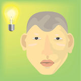 ThinK. Man ligth think background face Stock Photography