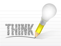 Think message written with a light bulb pencil. Royalty Free Stock Photo