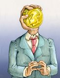 Always think about money. The bust of a man instead of the face a hand holding a golden coin Royalty Free Stock Photo