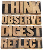 Think, observe, digest, reflect. A set of motivational words - isolated text in letterpress wood type stock photo