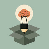 Think out of the box concept. Idea light bulb with brain Stock Photo