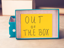Think out of box concept yellow card Royalty Free Stock Photography