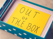 Think out of box concept yellow card Stock Images