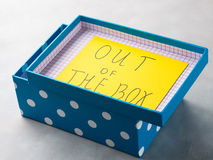 Think out of box concept yellow card Stock Photography