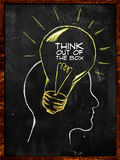 Think out of the box sketch on blackboard. Think out of the box - sketch on blackboard Royalty Free Stock Photography