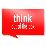 Think out of the box word on red speech bubble Royalty Free Stock Photos