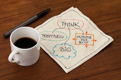 Think outside the box. Think positively, big and outside the box - motivational napkin doodle placed on wooden table with espresso coffee cup stock photos