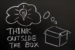 Think outside the box. Drawn in chalk on a blackboard stock photography
