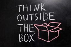 Think outside the box. Chalk drawing - concept of think outside the box stock photography