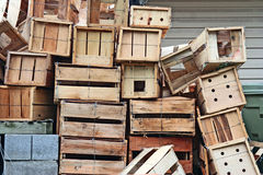 Think Outside the Box. A pile of wooden crates make the perfect metaphor for expanding your thought process Royalty Free Stock Images